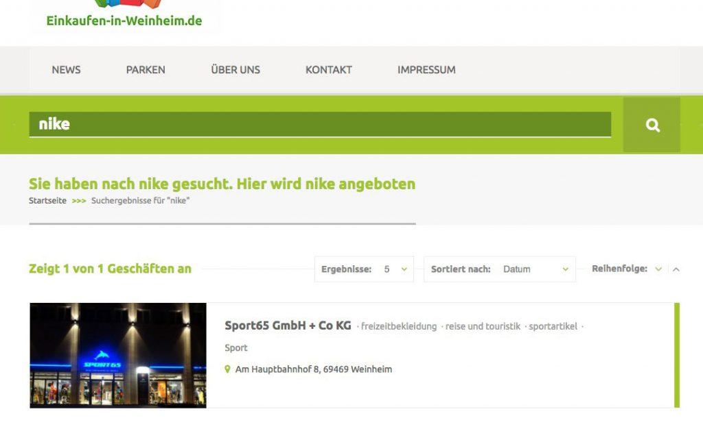 Suchergebnis nach Markensuche (Foto: screenshot, 42medien)