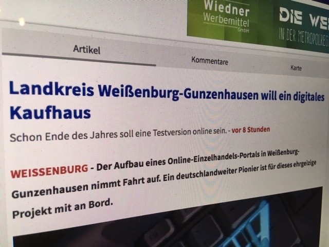 nordbayern.de berichtet erstmals über das geplante Portal in-altmühlfranken.de (Foto: screenshot, AH)