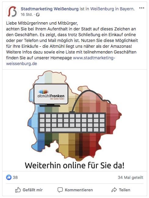 Ankündigung auf der Facebook-Seite des Weißenburger Stadtmarketingvereins  (Bild: Screenshot Facebook.de, AH)