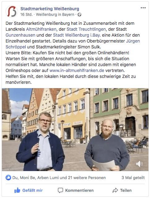 Lokalprominenz aus Politik, Kultur und Wirtschaft als Fürsprecher zu gewinnen (Local Celebrity Endorsement), ist ein bewährtes Mittel der Werbung (Bild: Screenshot Facebook.de, AH)