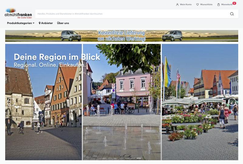 Die Besonderheit regionaler Online-Martkplätze: Mehrere Städte mit eigener Identität müssen unter ein Dach gebracht werden (Foto: Screenshot, AH)
