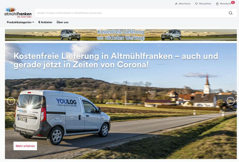 In Altmühlfranken übernimmt das in Weißenburg ansässige Unternehmen YOULOG die Belieferung von regionalen Kunden, die über den Online-Marktplatz bestellen (Foto: Screenshot, AH)