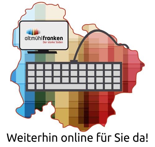 Aufkleber für das Schaufenster geschlossener, aber nachwievor online erreichbarer lokaler Geschäfte (© Zukunftsinitiative Altmühlfranken)