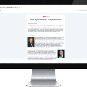 Newsletter der cima.digital erschienen